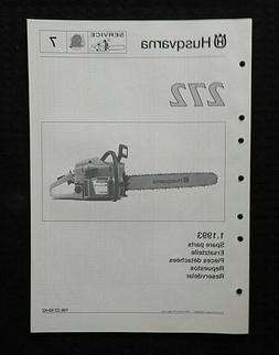Véritable HUSQVARNA Modèle 272 Tronçonneuse Parts List Ca